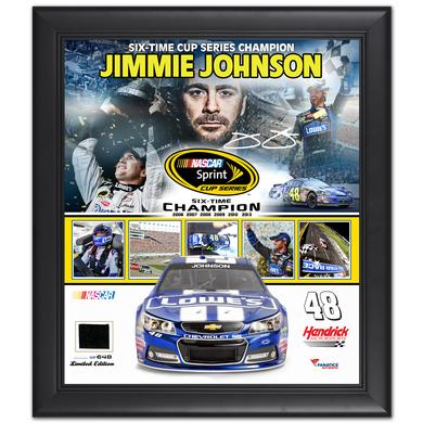 Jimmie Johnson #48 2013 6x Sprint Cup  Champion Framed 15''x17'' Collage w/ Race-Used Champ Tire - L.E. of 648