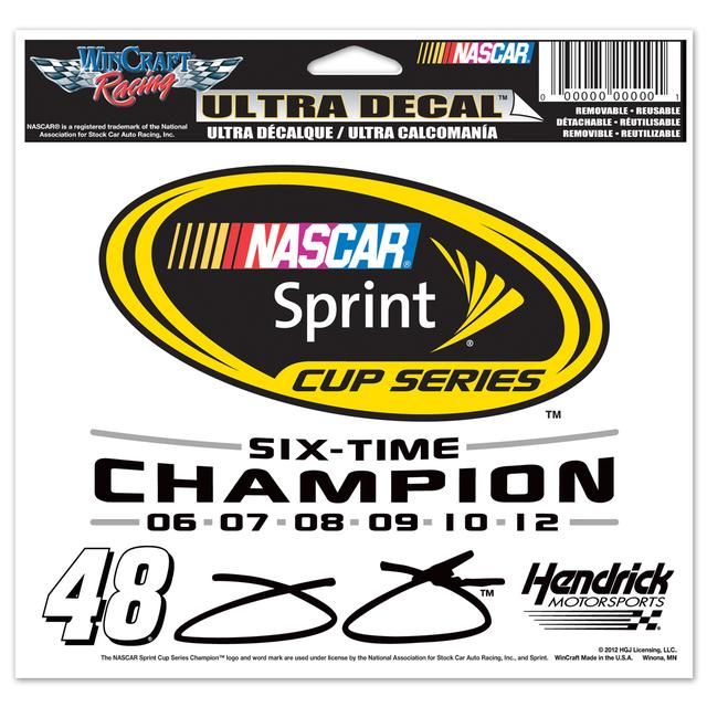 "Jimmie Johnson 6x Sprint Cup Champion 4x6"" Ultra Decal"