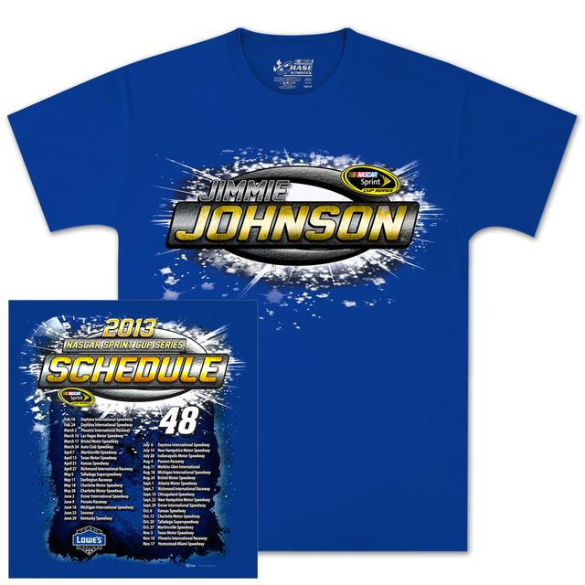 Jimmie Johnson Lowes 2013 Schedule T-shirt