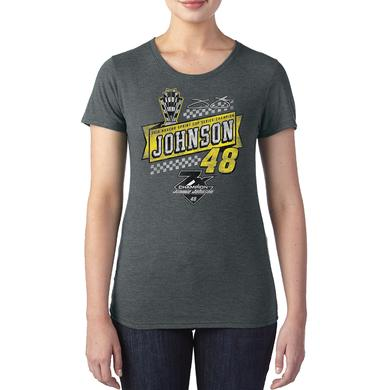 Jimmie Johnson 2016 NASCAR Champ Ladies Retro 1-spot Graphic T-shirt