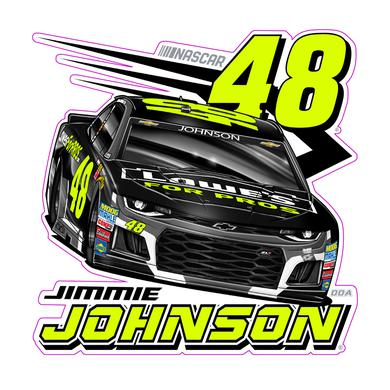 "Jimmie Johnson #48 2018 NASCAR Fluorescent Decal - 6""x6"""