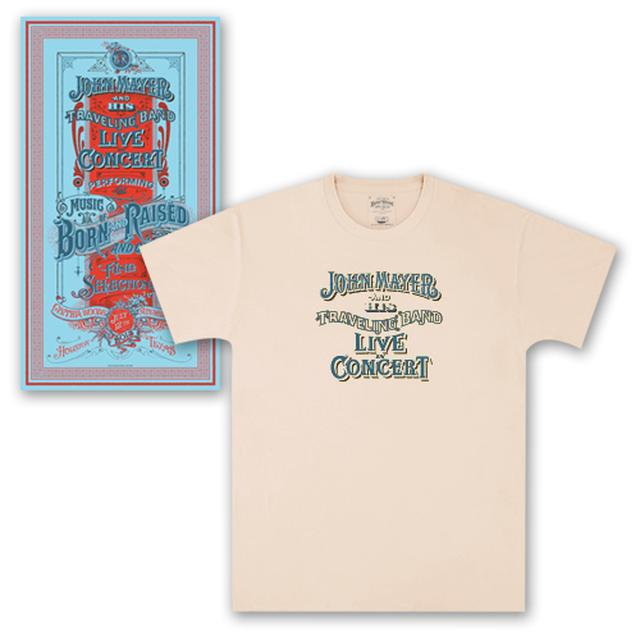 John Mayer Houston Event Poster + T-shirt Combo