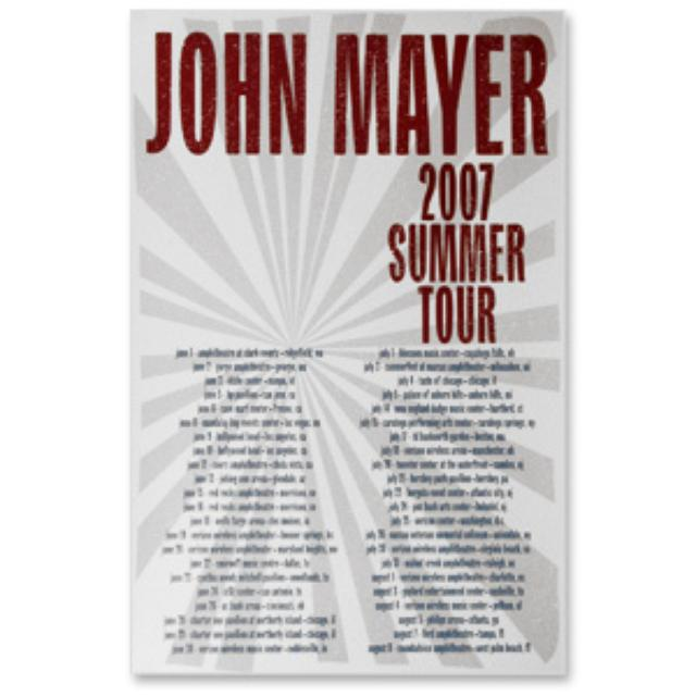 John Mayer 2007 Summer Tour Poster