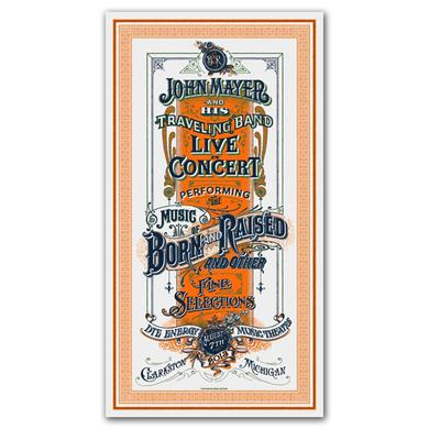 John Mayer Clarkston, MI Event Poster