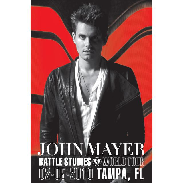 john mayer 2 5 10 tampa battle studies tour poster. Black Bedroom Furniture Sets. Home Design Ideas