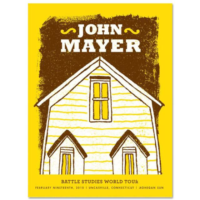 John Mayer 2/19/10 Uncasville Battle Studies Tour Poster