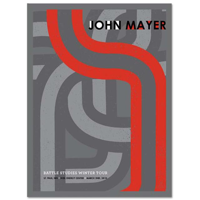 John Mayer 3/2/10 St. Paul, MN Battle Studies Tour Poster