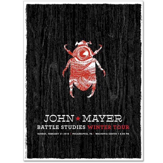 2/21/10 Philadelphia, PA Battle Studies John Mayer Tour Poster