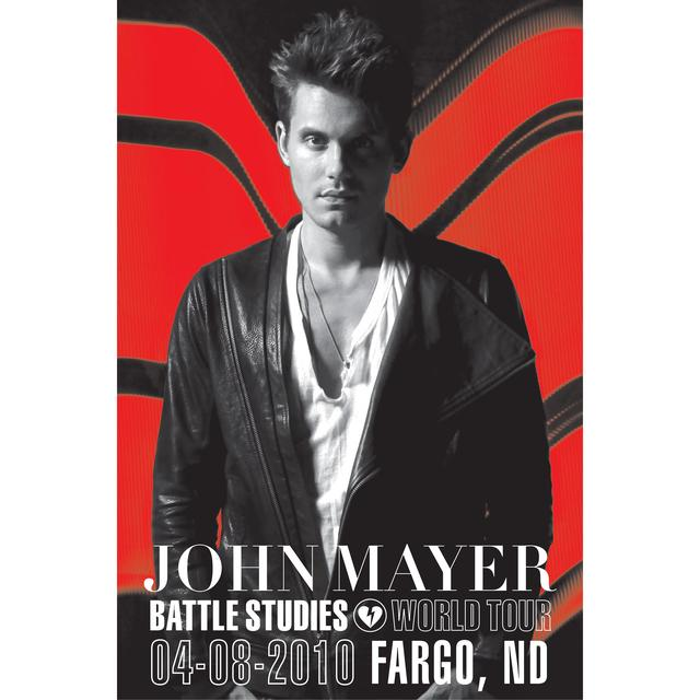 4/8/10 Fargo, ND Battle Studies John Mayer Tour Poster
