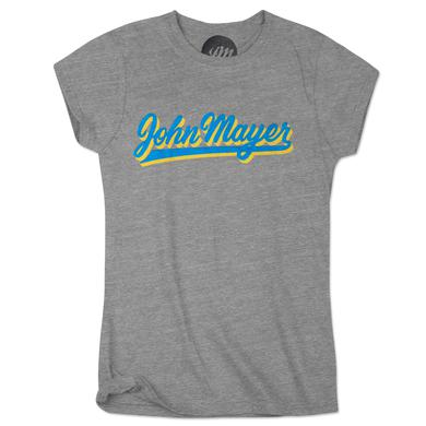 John Mayer Blue and Yellow Script Womens T-Shirt