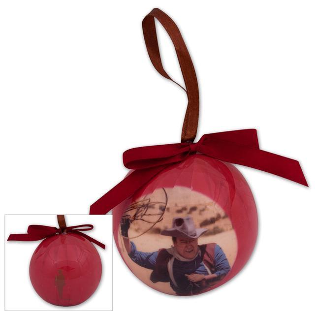 John Wayne Decoupage Ball & Bow Ornament