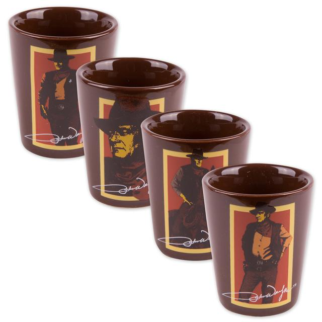 John Wayne 4 pc. Ceramic Shot Glasses