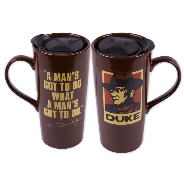 "John Wayne "" A Mans Got To Do"" 20oz. Ceramic Travel Mug"