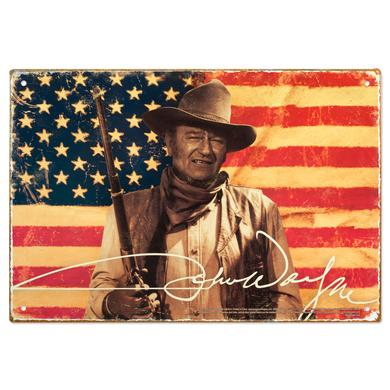 John Wayne American Flag 11.5 x 8 Tin Sign