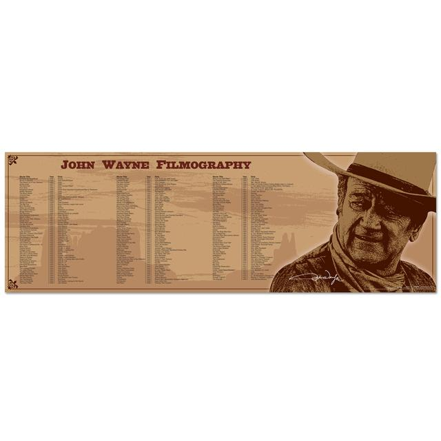 John Wayne Filmography 11.75x36inch Slim Print