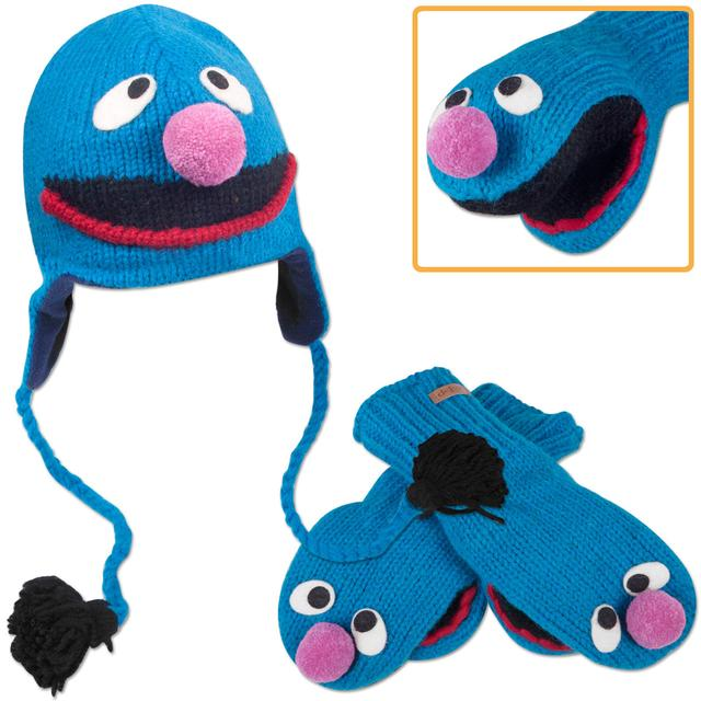 Sesame Street Grover Kids Hat/Mittens Bundle