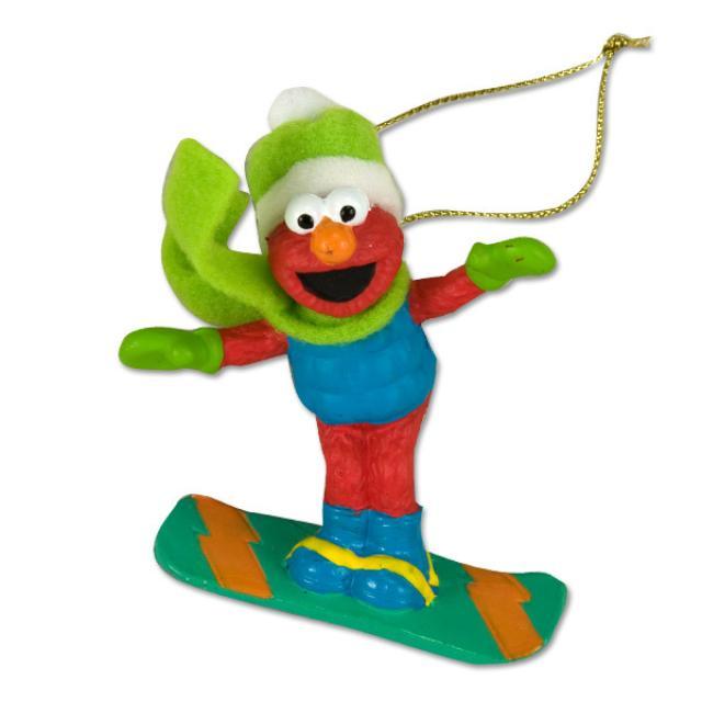 Sesame Street Elmo Snowboarding Ornament