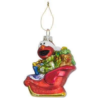 Sesame Street Elmo Sleigh Glass Ornament