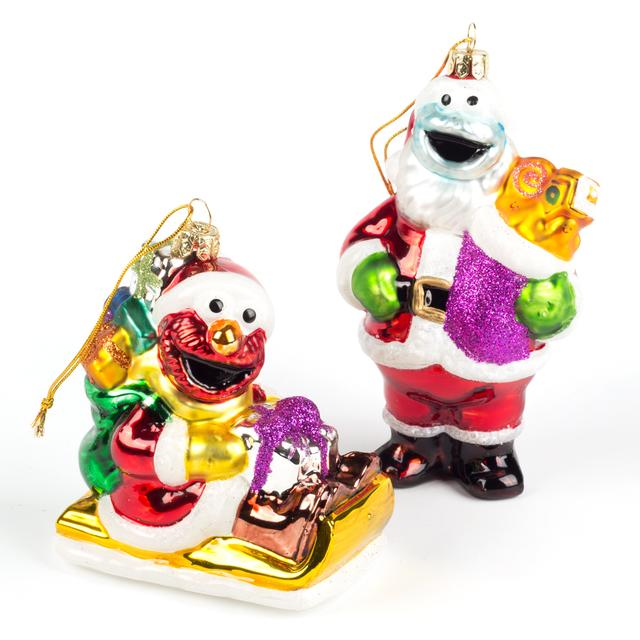 "Sesame Street 5"" Elmo & Cookie 2 pc. Glass Ornaments"