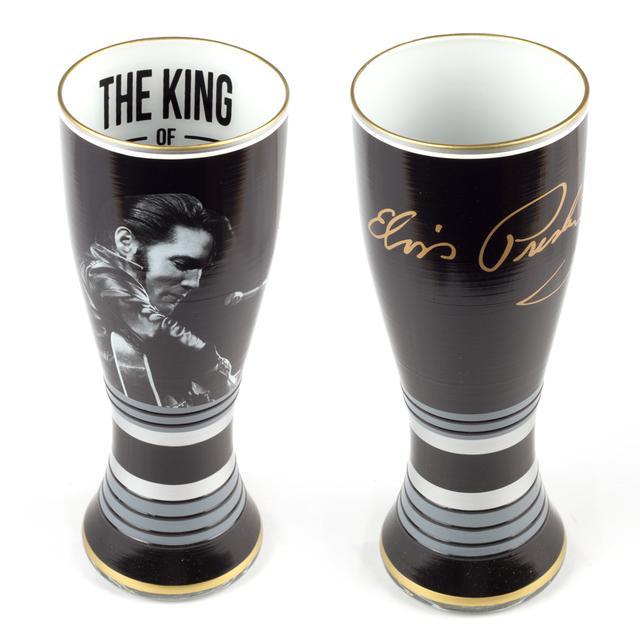 """Elvis Presley King of Rock """"n""""' Roll Hand Painted Goblet (Set of 2)"""