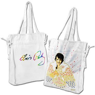 Elvis White Canvas Jumpsuit Cinch Tote