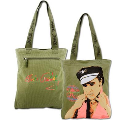 Elvis CC Rider Green Canvas Tote
