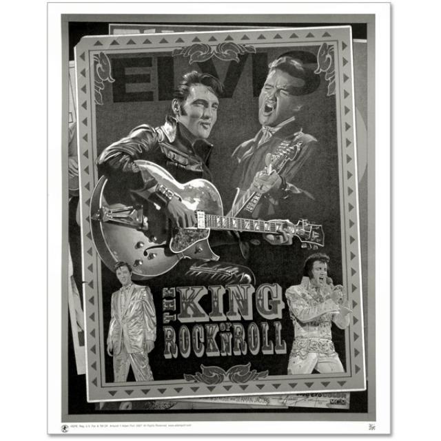 Elvis: King of Rock n Roll Black and White Art Print