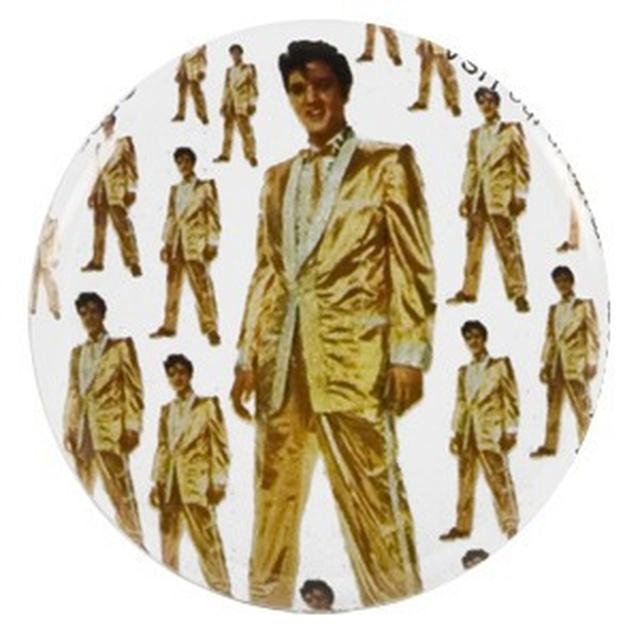 Elvis in Gold Button