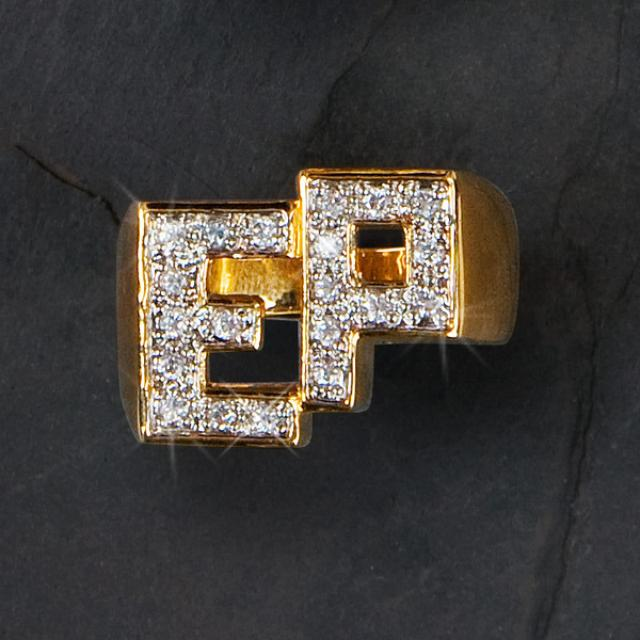 Elvis 18kt Gold Plated EP Initials Ring (Vinyl)