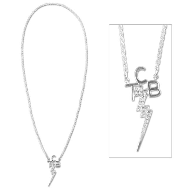 Elvis TCB Silver Plate Cubic Zirconium Necklace