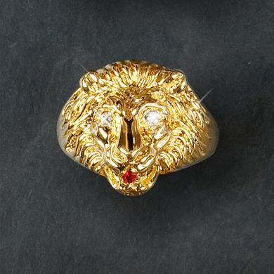 Elvis 18kt Gold Plated Lion Head Ring