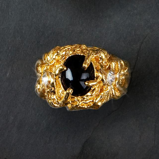 Elvis 18kt Gold Plated Sapphire Ring