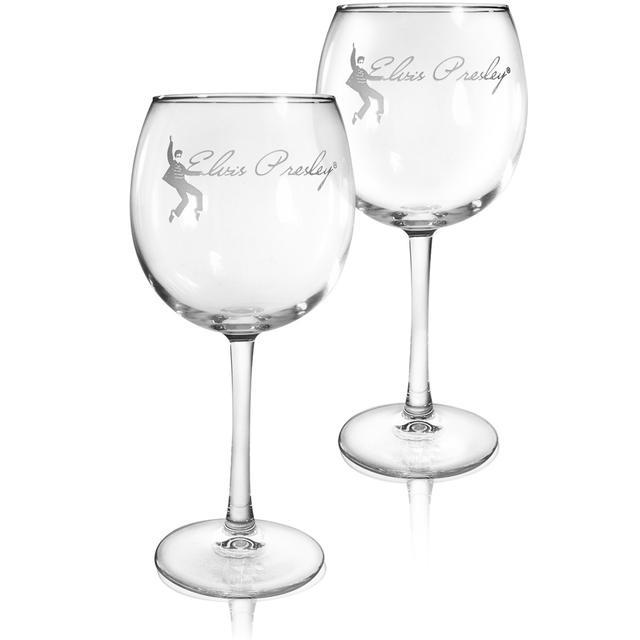 Elvis Jailhouse Rock Etched 16oz. Wine Glasses Set of 2