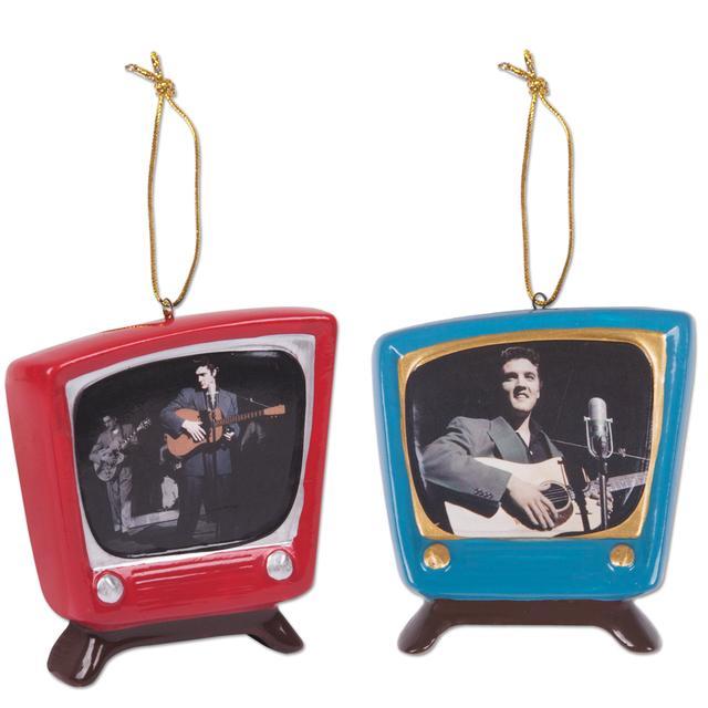 Elvis Retro TV Ornament Set