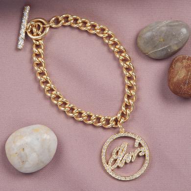 Elvis Circle Script Charm Bracelet