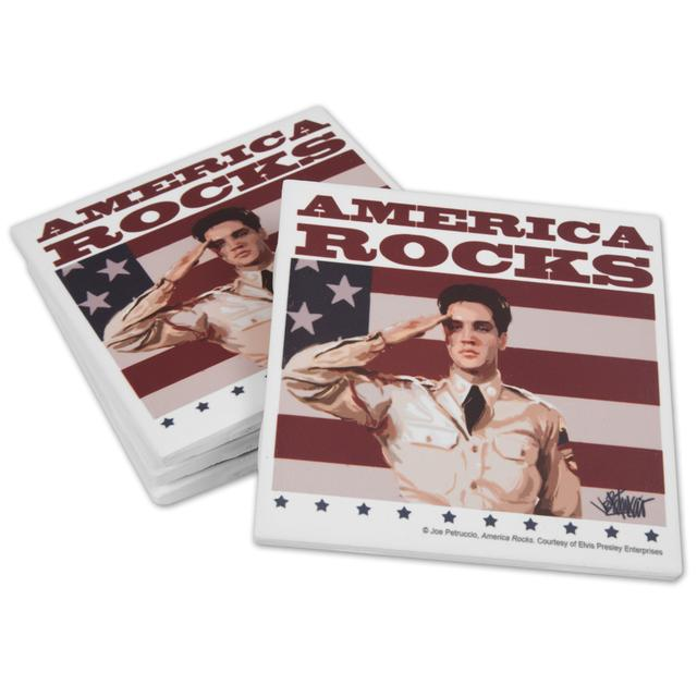 Elvis America Rocks Ceramic Coasters Set