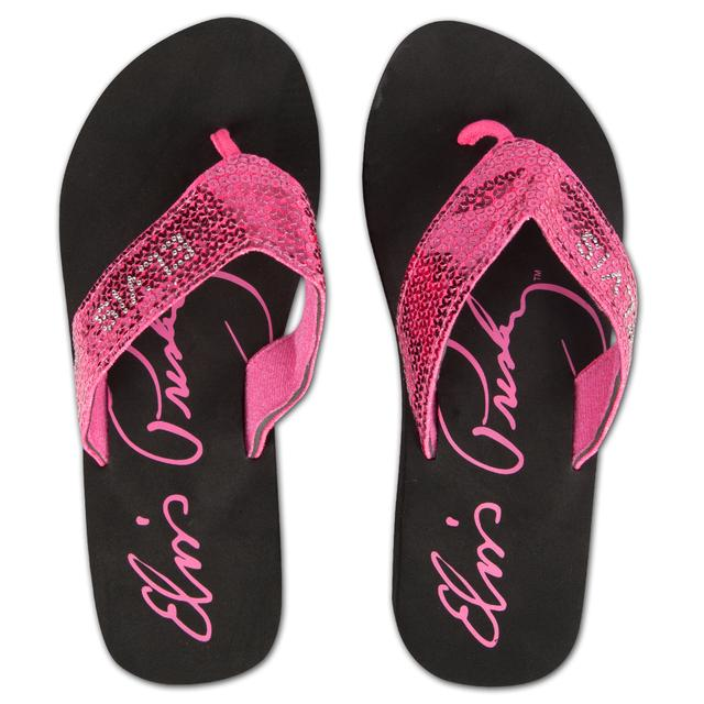 Elvis Signature Hot Pink Sequin Flip Flops