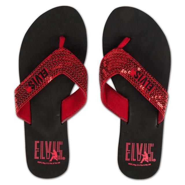Elvis Silhouette Red Sequin Flip Flops