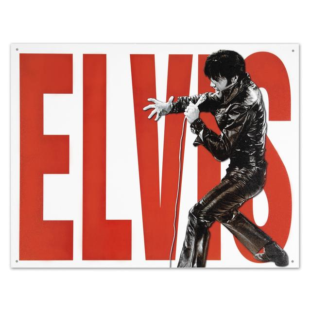Elvis Leather Tin Sign