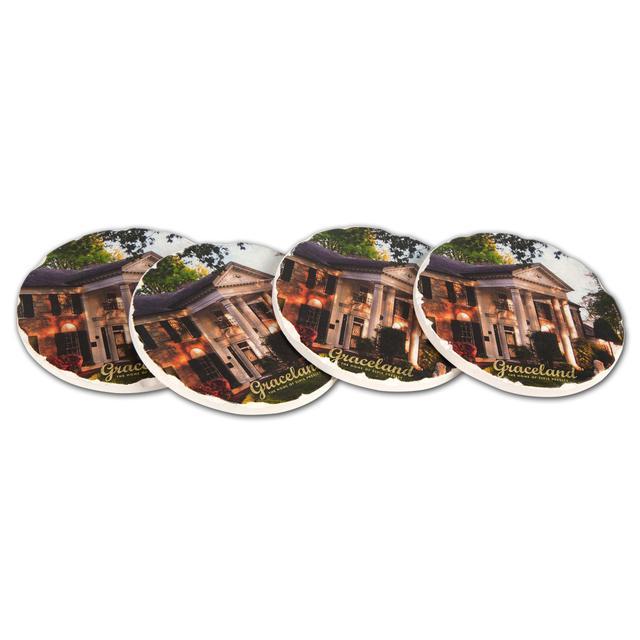 Elvis Graceland Round Tile Coaster Set (4)