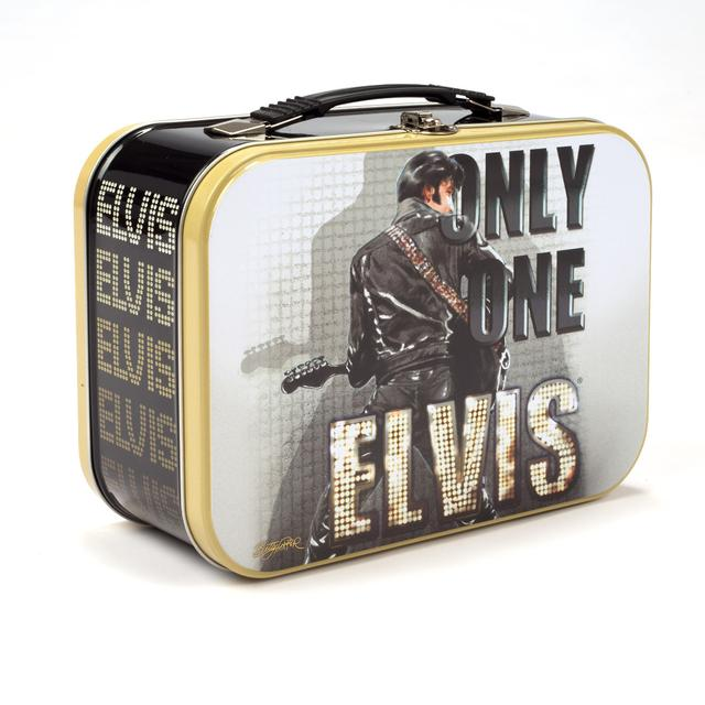 Elvis Only One Elvis Black Leather Tin Tote