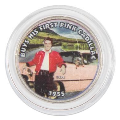 """Elvis Presley """"Buys His First Pink Cadillac"""" Colorized State Quarter Coin"""