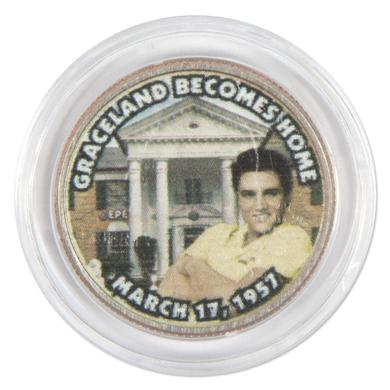 "Elvis Presley ""Graceland Becomes Home"" Colorized State Quarter Coin"