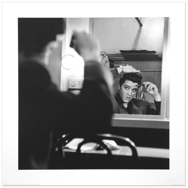 "Elvis Mirror Black and White 16"" x 16"" Print"