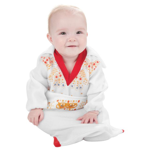 Elvis Newborn White Jumpsuit Bunting
