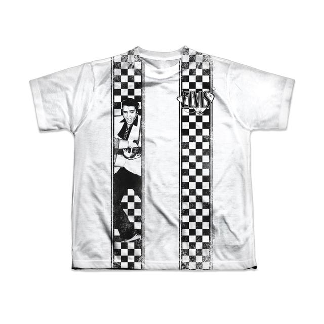 Elvis Checkered Youth Bowling Shirt