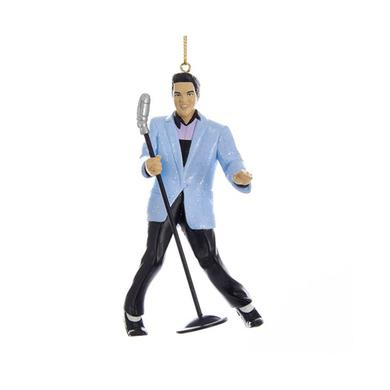 Elvis Presley Hound Dog Blue Jacket with Microphone Ornament