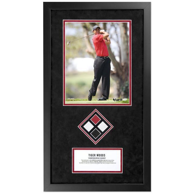 T7 Tiger Woods Tournament Worn Quad Swatch w/Photo