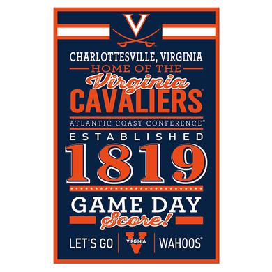 "UVA Athletics University of Virginia Cavaliers Home Wood Sign - 11"" x 17"""