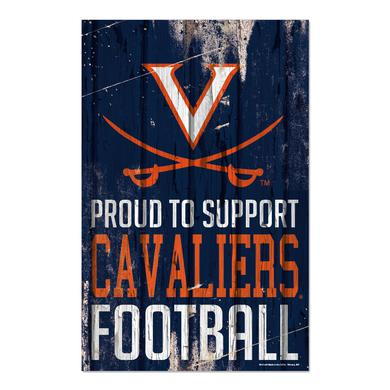 "UVA Athletics University of Virginia Cavaliers Proud Support Plank Sign - 11"" x 17"""